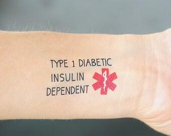 TYPE 1 DIABETES, Insulin Dependent Medical Alert Temporary Tattoos