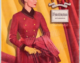 1956 Print Ad for Forstmann's Wool // 1950s fashion prints // Retro fashion from the 50's