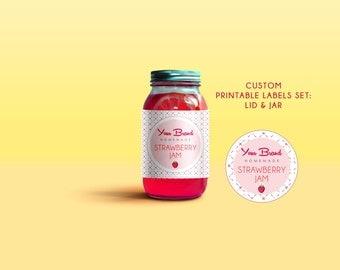 Customizable Homemade strawberry jam labels, Printable mason jar sticker, printable preserve labels, Tags for strawberry preserved, Tags