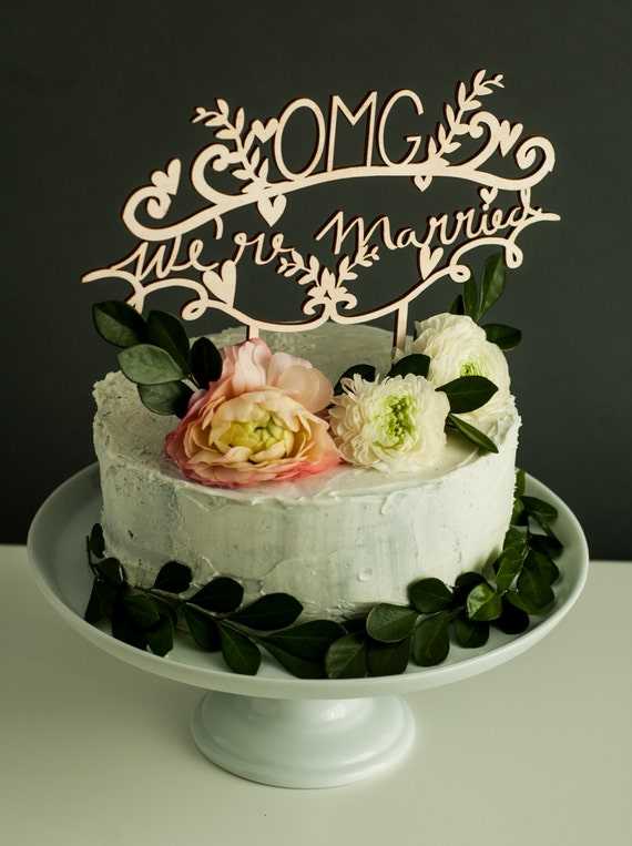 wooden wedding cake topper not on the high street cake topper wedding omg we re married wedding decor 27608