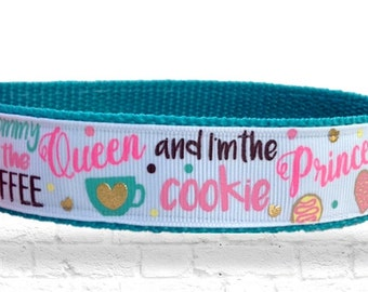 Coffee Queen Dog Collar, Cookie Princess dog collar, Cookie dog collar, Caffeine Queen dog collar