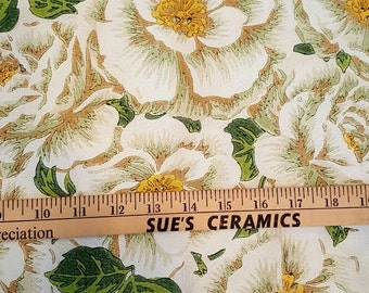 Shabby Cottage ~ White Roses on White ~ Pleated Drapes Curtains Fabric ~ Vintage Prettiness ~ PAIR