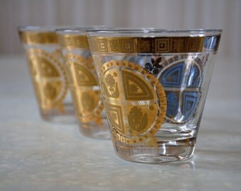Fabulous Vintage Lowball Coronet Pattern Tumblers by Culver