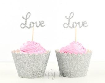 Silver Glitter Love Cupcake Topper, Love Silver Glitter Cupcake Topper, Party Decorations, Wedding