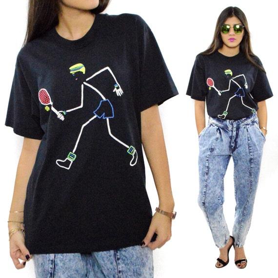 Vintage 90s Stick Figure Tennis Screen Stars Best T Shirt Sz L