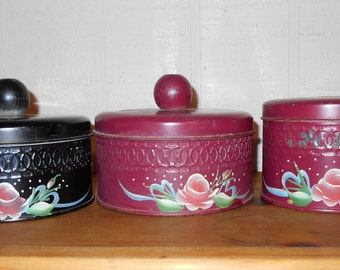 1940s kitchen canisters tins set of 3 Indian red and black flower motif  Free USA shipping