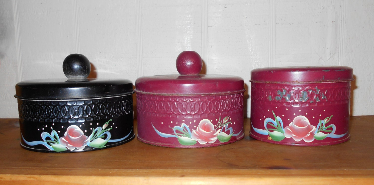 1940s kitchen canisters tins set of 3 indian red and black for Kitchen set video in hindi