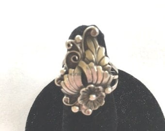 M STERLING Signed Flower Ring - Intricate Floral Design - Size 5