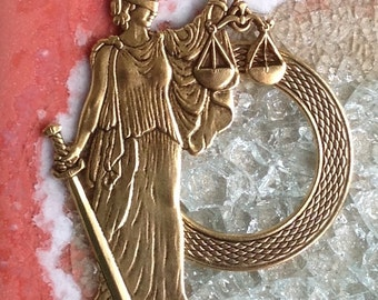 Lady Justice Eyeglass Holder Pin Brooch Loop Ring-Scales of Justice, Law, Liberty