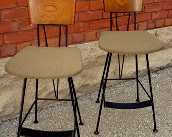 SOLD Richard McCarthy Mid Century Counter Stools Wrought Iron and Ash Wood- PAIR