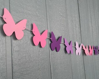 BUTTERFLY Garland, 10 feet - Shades of PINK and PURPLE - Birthdays, Showers, Weddings, Photo Prop