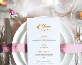 GOLD Wedding Menu - Printable PDF file
