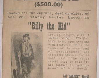 BIG 11 x 14 Billy the Kid Wanted Poster, old west, western, outlaw