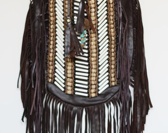 N47G- Big Dark Brown Indian leather Handbag, Native American Style bag. Crossbody bag. Boho bag.