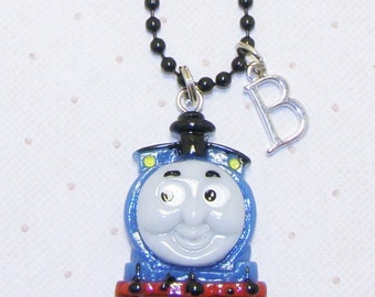 Blue Thomas The Train Childrens Necklace With Initials, Childrens Jewelry, Initial Necklace
