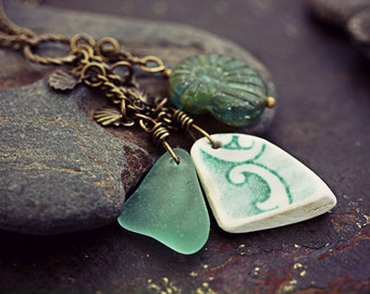 Ammonite Necklace Seaglass Jewelry Sea Glass Pendant - Ode Mary Anning - Clam Shell Beach Glass Fossil Pottery Shard Jewellery