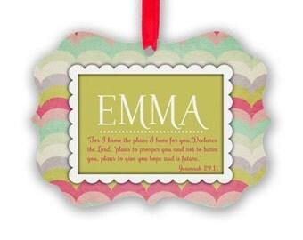 Personalized Girls Aluminum Ornament, Jeremiah 21-11, Birthday Gift, Christmas Ornament, Personalized Ornament,