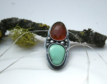 Variscite and Carnelian, Ring or Necklace - Made To Order Size, boho, glitz, bling, rose cut, faceted, statement, silver, sterling silver