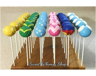 24 Princess Cake Pops for birthday, party favors, frozen, little mermaid, cinderella, snow white, beauty and the beast, sleeping beauty
