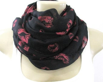 Fashion Scarf Black and Red Lips Kiss Print Large Fashion Scarf