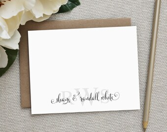 Wedding Thank You Cards.  Wedding Thank You Notes. Personalized Stationery. Notecards. Stationary. Monogram Wedding Stationery. Stacked.