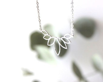 Flower Petal necklace, plated with fine silver/ Wedding/ Gift for her.