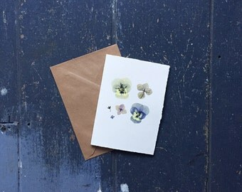 Individually Handmade Greeting Card with Pressed Flowers