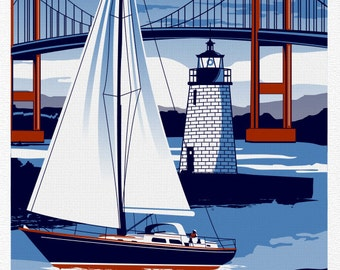 Newport Rhode Island Sailboat Lighthouse Vintage nautical poster
