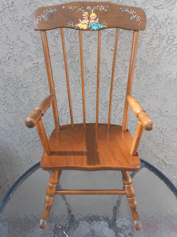 Grandmas Gift Childs Vintage Rocking Chair Musical Small Wooden Chair ...