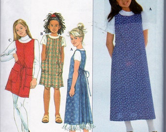 Simplicity 8376, Girl's Size 7,8,10, Wrap Around Apron Dress Pattern, Wrap Dress, Long or Short Dress, Patch Pockets and Front and Back Ties