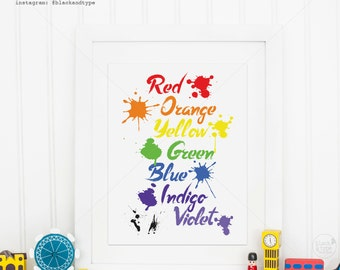 Rainbow Colors || bright modern art, kids prints, rainbow poster, ROYGBIV, rainbow colours, primary colors, nursery art, playroom poster