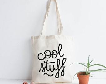 Tota bag cotton natural Cool Stuff / screen print black / hand lettering