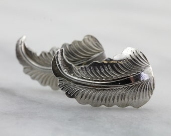 Vintage Feather Cufflinks in Sterling Silver, Fine Mid Century Accessories  5NY4C8-R