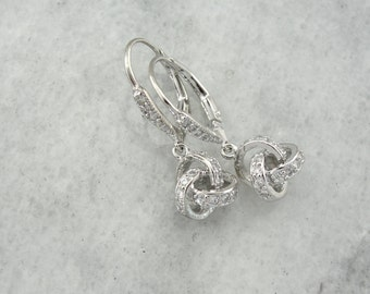 An Endless Flow of Diamonds: Contemporary Sterling Silver & Diamond Spheres Drop Earrings  YDMDP2-N