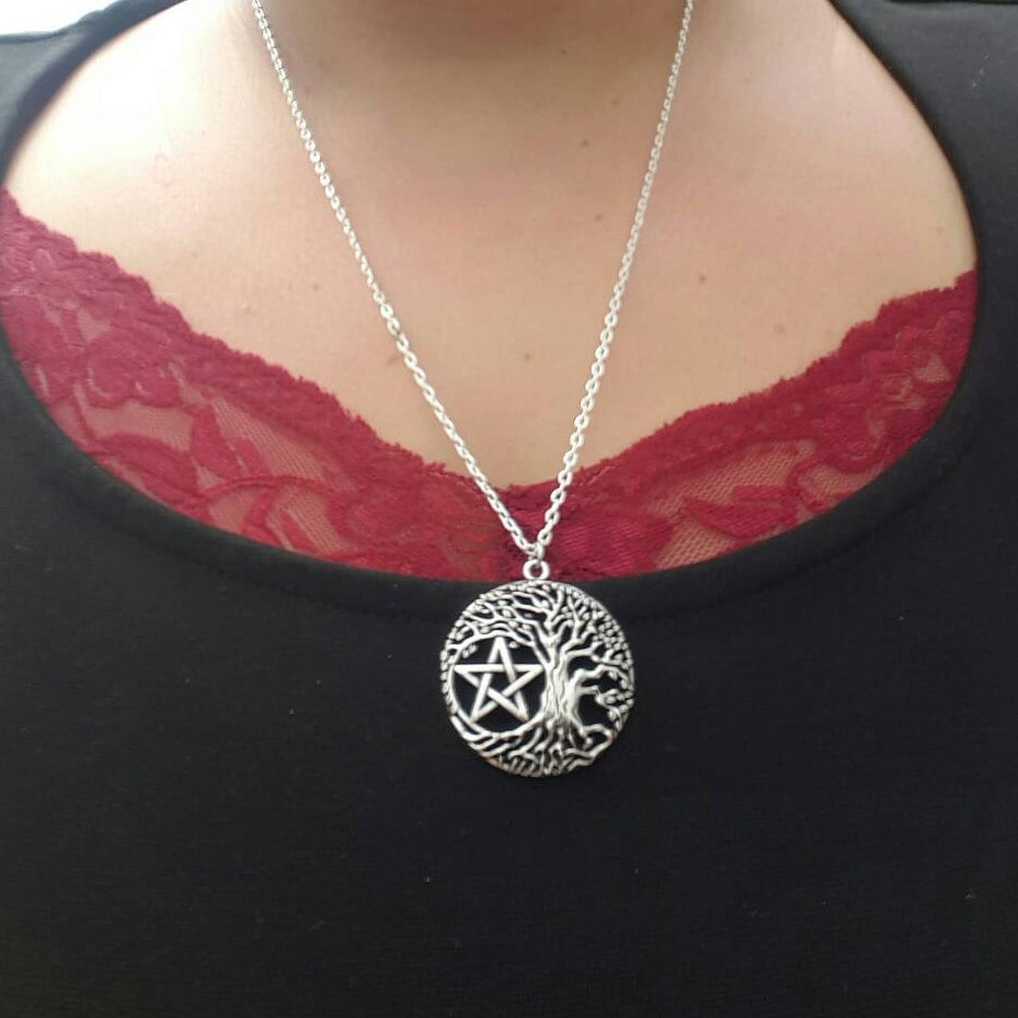 Wiccan jewelry tree of life pentacle silver necklace celtic wiccan jewelry tree of life pentacle silver necklace celtic wicca jewellery pentacle necklace pagan witch talisman pendant unisex aloadofball Choice Image