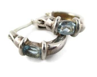 Vintage CZ Aquamarine Sterling Silver 925 Hoop Earrings