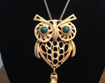 Large 5-Inch Vintage Gold Woodsy Owl Pendant with Green Eyes on Long Gold Chain - Retro Necklace ca. 1970's Boho Hipster Jewelry