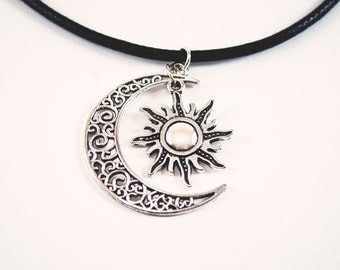 Sun and moon choker necklace charm
