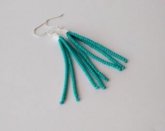 Turquoise tassels,fringe earrings,seafoam earrings,seed bead earring,bridesmaid gift,beaded fringe earrings,bridesmaid gift,seed beads,gift
