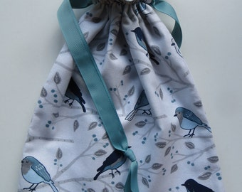 Lined Drawstring Fabric Gift Bag with Bird Theme