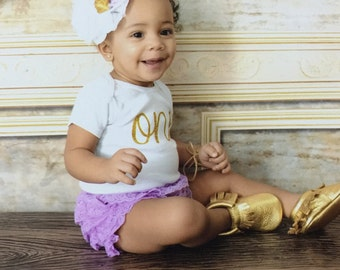Cake Smash Outfit Girl...Purple and Gold First Birthday Outfit...Lavender and Gold Outfit...First Birthday Girl Outfit..One Year Old Outfit
