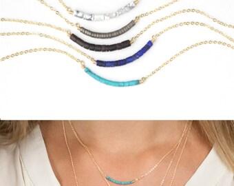 Minimal Gemstone Bead Bar Necklace / Dainty Birthstone Necklace / Delicate Gemstone Necklace / Gold, Silver, Rose / Layered and Long, LN603