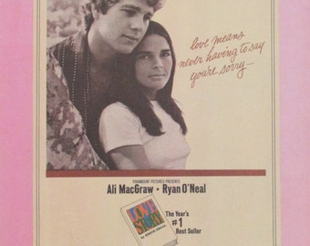 "Vintage Sheet Music ""Theme From Love Story"" Piano Solo Sheet Music / Ali Macgraw Ryan O'Neal"