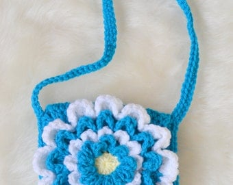 Crocheted 3D Flower Bag Ready to Ship
