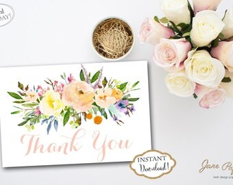 INSTANT DOWNLOAD - Floral Thank You Card Peach Pink Watercolor - Floral Thank You Note - Coral Floral - Pink Floral Card 0222 0221 0443