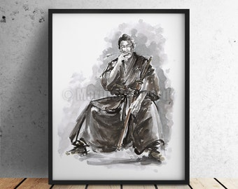 Samurai Warrior Poster. Japanese Warrior Painting. Ronin. 47 Ronin. Wall Decor Art. Ink Art.