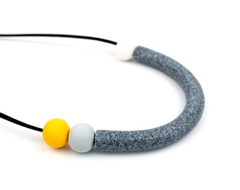 Geometric Curve Design Necklace, Grey Curve Necklace, Grey and Yellow Statement Necklace, Bib Necklace, Modern Art Jewellery, Wearable Art