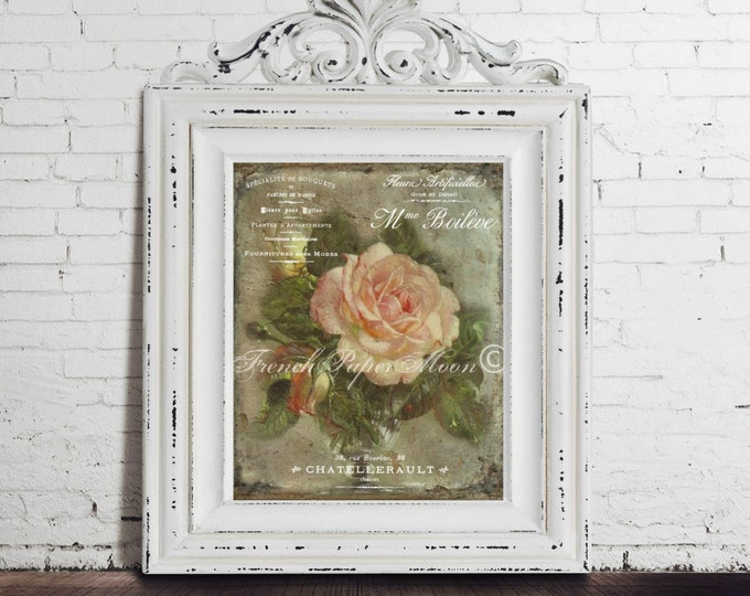 French Autumn Rose Download, Vintage Woodland Rose Digital Art Print, French Graphic Rose Printable
