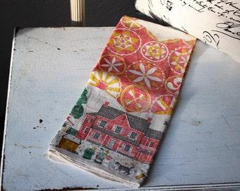 Vintage Linen Tea Towel / Country Print Linen Hand Towel / Home Decor, Vintage Linens, Kitchen Decor, Americana, Primitive, Cottage Chic