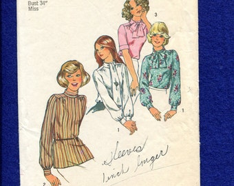 1970's Simplicity 6625 Retro Russian Military Style Blouses Size 12